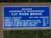 English: Michigan Department of Transportation sign at the Cut River Bridge