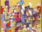 The music band of the Janissaries called mehterhane. They accompanied the company into battle and would play music according to the rhythm of the battle. The music was also used as a way of communication, such as retreat or attack. Ottoman miniature paint