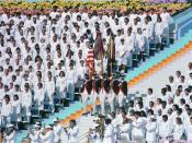 English: A color guard wearing Revolutionary War costumes participates in the opening ceremonies for the 1984 Olympics.