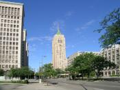 English: Grand Boulevard looking west through the New Center in Detroit MI--Cadillac Place and the Fisher Building