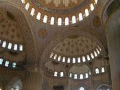 Interior view of the Blue mosque in Istanbul.