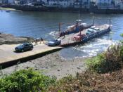 English: The Bodinnick Ferry A popular car ferry over the River Fowey from Bodinnick, a small village where the famous author Daphne du Maurier once lived in a house by the slipway. To see some 360°Panoramas of Cornwall please visit this www.europanoramas