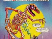 Peter Venkman and Ray Stanz of the Ghostbusters battle a ghostly animated Tyrannosaurs Rex skeleton. From The Real Ghostbusters Vol.2 #4. From NOW Comics.