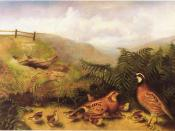 Painting Landscape with Quail - Cock, Hen, and Chickens by Rubens Peale