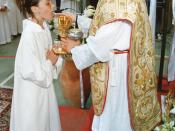 Girl receiving first Holy Communion, Sicily