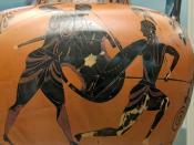 Achilles (left) and Penthesileia (right). Attic black-figured amphora,.