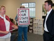Hans Poschman (right), Field Representative for Assemblyman Sam Blakeslee of the California Legislature 33rd District, meets with Save our State Parks (SOSP) advocates Mary Golden (left) Executive Director, Central Coast Natural History Association