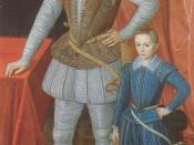 Sir Walter Raleigh in paned trunk hose and cannions, and his son in loose slops, 1602