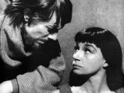 Pjäsen Antigone av Sofokles. Antigone spelad av Ulla Sjöblom och Kreon av Olof Widgren. TV-teater 1960