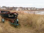 English: Elie from Earlsferry. Looking East along the beach dunes towards Elie.
