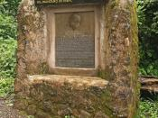 English: A memorial honouring Hans Meyer, the first European to conquer Mount Kilimanjaro. The message states,