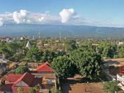 English: A panorama of Moshi town in Tanzania. Mt Kilimanjaro can be see in the background