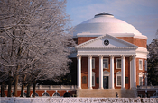 English: Thomas Jefferson's Rotunda at the University of Virginia. This collegiate structure and those surrounding it are protected with international funds as a World Heritage Site by UNESCO, the education and science body of the United Nations.