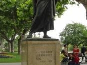 English: Statue of Marco Polo in Hangzhou, China, near the West Lake Suomi: Marco Polon patsas Hangzhoussa, Kiinassa