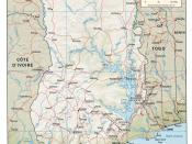 English: CIA shaded relief map of Ghana, 2007.
