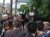 Mounted riot police as crowd control during protests in Edinburgh