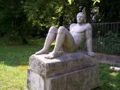 Endre Szőllősi's statue entitled Sunbather in Köztársaság Liget, Pápa, Hungary. Szőllősi Endre Napozó című szobra a pápai Köztársaság Ligetben.