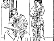 Penelope enounters the returned Odysseus posing as a beggar. From a mural in the Macellum of Pompeii.