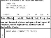 Sample FAA airman medical certificate.