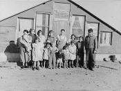 English: Family of John Harshenberger. Two children were not at home. Mennonites, Sheridan County, Montana