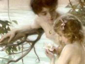 Mother and child bathing