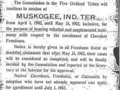 Cherokee Freedmen Enrollment Notice