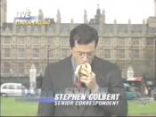 Stephen Colbert harps upon the 2003 Prince Charles sex scandal by inhaling a banana in this memorable moment from The Daily Show.