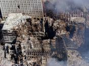 The remains of 6 World Trade Center, 7 World Trade Center, and 1 World Trade Center, days after the attacks