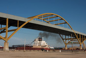 English: The American Courage ship passing under the Hoan Bridge in Milwaukee, Wisconsin
