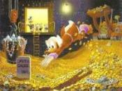 Scrooge's signature dive into money.