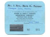 English: This an image of Library Card 001 originally owned by Mark and Emily Turner. It was left to the Turner Memorial Library after their deaths.