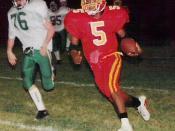 English: High school football, running back, 1999, by Rick Dikeman