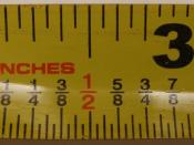 English: Picture of a common measuring tape in inches. It is divided into 1/32nd of an inch.