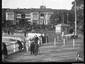 People promenading near the Palace Hotel at Watsons Bay, Sydney