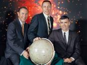 English: The actual Apollo 13 lunar landing mission prime crew from left to right are: Commander, James A. Lovell Jr., Command Module pilot, John L. Swigert Jr.and Lunar Module pilot, Fred W. Haise Jr.The original Command Module pilot for this mission was