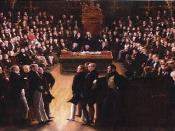 English: Detail from the picture commemorating the passing of the Great Reform Act in 1832. It depicts the first session of the new House of Commons on 5 February 1833 held in St Stephen's Chapel which was destroyed by fire in 1834.