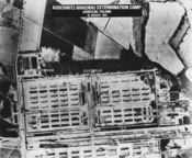 English: Photo of the Nazi extermination camp at Auschwitz-Birkenau, taken by a United States Army Air Force plane, August 25, 1944. Crematoria II and III are visible. For reference as to the date of the photo and what it shows, see The Case for Auschwitz