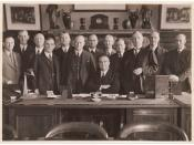 Premier Bertram Stevens and his cabinet in his office, Colonial Secretary's Building, Sydney, 29 February 1939 / photographer Sam Hood