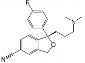 Structural formula of the SSRI escitalopram, in its free base form.