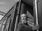 English: Aleksandr Solzhenitsyn, Russian writer and Nobel prize winner, looks out from a train, in Vladivostok, summer 1994, before departing on a journey across Russia. Solzhenitsyn returned to Russia after nearly 20 years in exile. Photo by Mikhail Evst