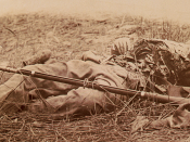 English: A Union soldier killed by a shell in
