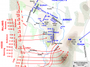 Map of Hood's assaults in the Battle of Gettysburg, Second Day, of the American Civil War. Updated unit positions and made topographical background consistent with many other Wikipedia Gettysburg maps. Drawn in Adobe Illustrator CS5 by Hal Jespersen. Grap