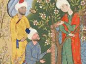 Youth conversing with suitors from the Haft Awrang of Jami, in the story A Father Advises his Son About Love.