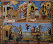 A painting in the Rila Monastery in Bulgaria, condemning witchcraft and traditional folk magic