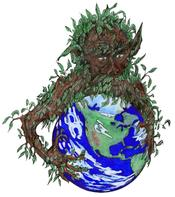 English: Universal archetype expression of the ancient legend Green Man. One of many modern renditions of the Green Man.