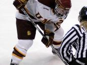 English: Saara Tuominen, senior captain of the University of Minnesota Duluth Bulldogs women's hockey team, in a game against the Wisconsin Badgers at the DECC in Duluth on Jan. 17, 2010
