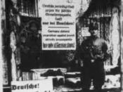 English: Nazi Germany after the Neurenberg Laws, 1935 - 1936. Sign says: 'Germans protect yourself, don't buy from Jews'
