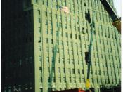 English: A close view of the damage to the Verizon Building caused by airplane debris from the World Trade Center attacks. Taken by me in October, 2001.