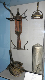English: Photo of parts of some of Robert H. Goddard's rockets