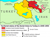 English: A map that shows the territorial claims of the Soviet Union to Turkey in 1945-1953.